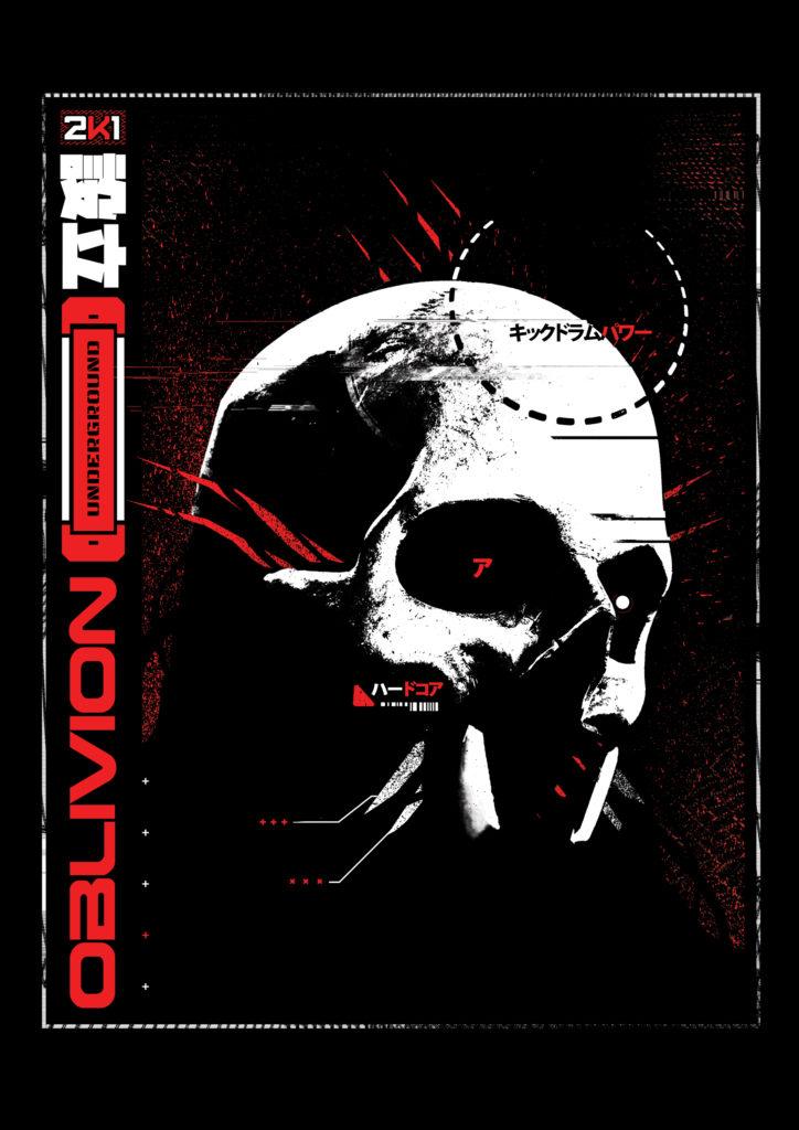Oblivion x Machine T-shirt - White & Red